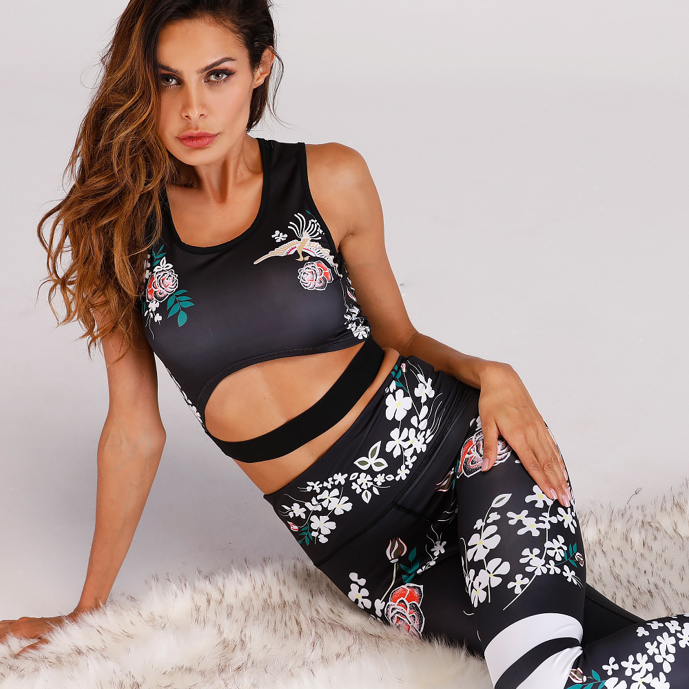 Women's Two Piece Outfits Yoga Leggings Suits with Sports Bra Stretch Clothing Sets Gym Sets
