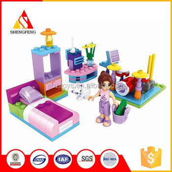 House bedroom kids small plastic building blocks girl games