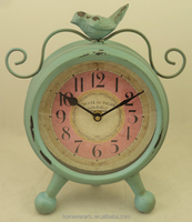 Antique blue mini metal table clock with decorative bird