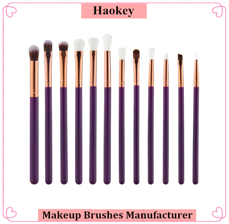 12 PCS purple eyeshadow new design free sample makeup brush set