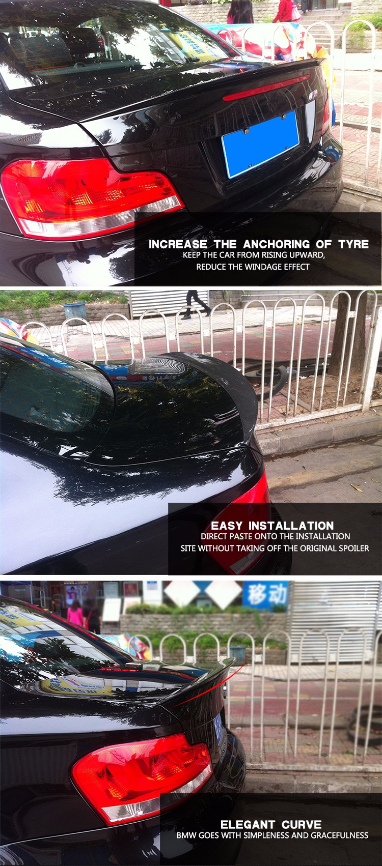 Carbon Fiber Car Rear Wing Spoiler for BMW 1Series E82 1M 2011UP