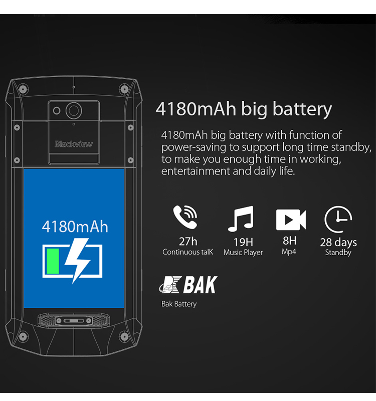 6GB RAM 64GB ROM Octa-Core Blackview BV8000 Pro Android Smartphone IP68 Mobile Phone