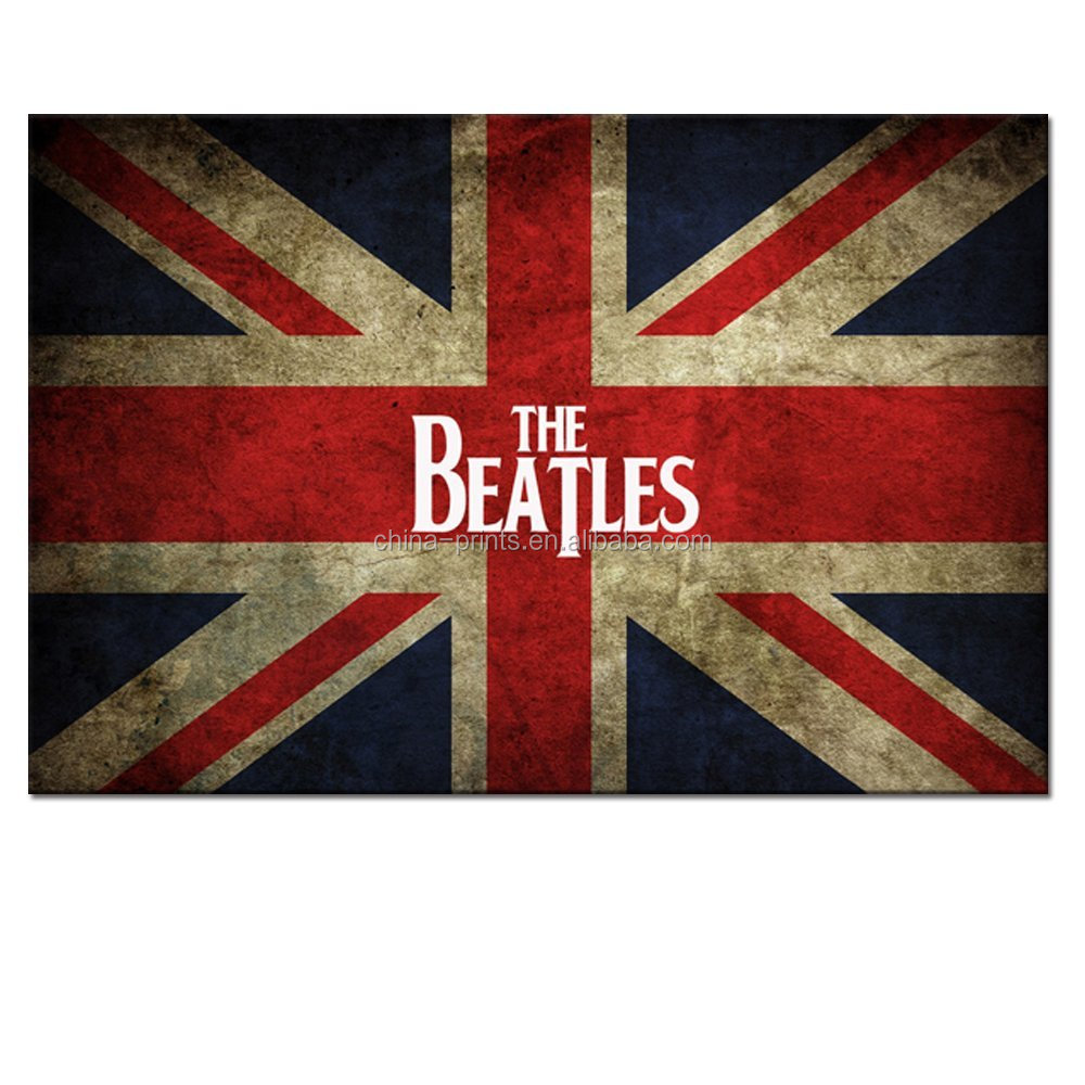 UK United Kingdom Flag Canvas Wall Art, the Greatest Rock Band the Beatles Poster Painting