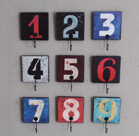 New Vintage Arabic Digits Style Wooden Wall Hooks and Hanger for Home Hotel Bar Cafe Decoration
