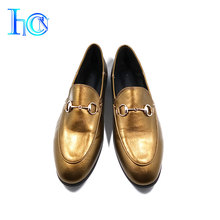 Exquisite Spring Autumn Gold Bright Color Latest Design Lady Flat Shoes