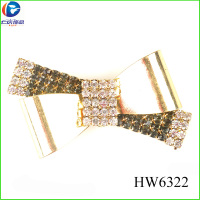 2016 crystal diamond with gold bow shoe buckle