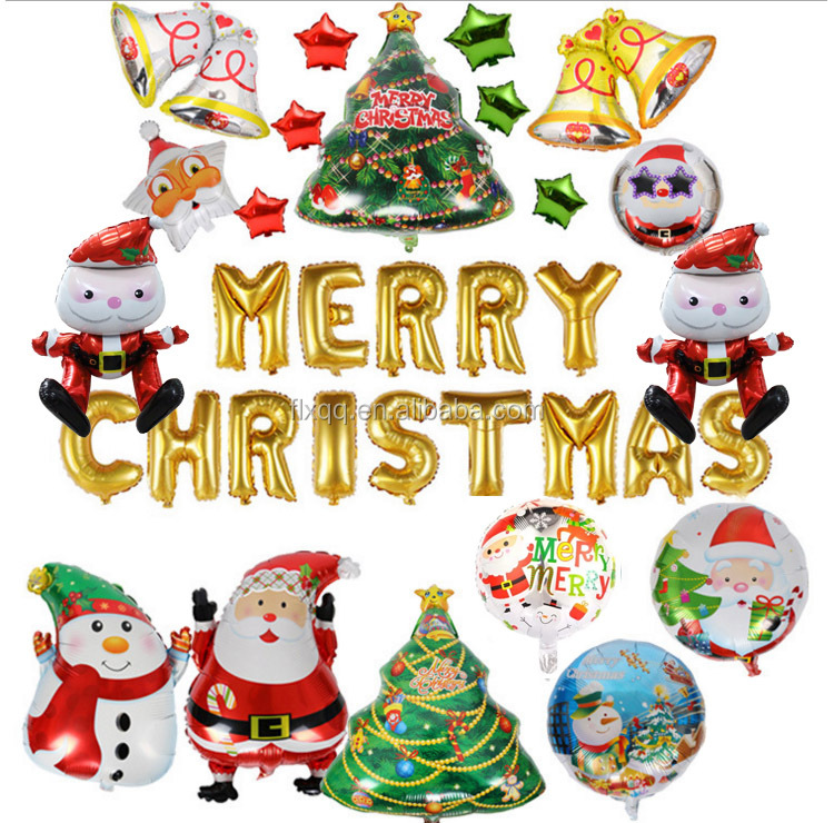 Christmas Eve balloon Christmas Eve decorated Santa Claus balloon Christmas tree snowman helium balloon manufacturer