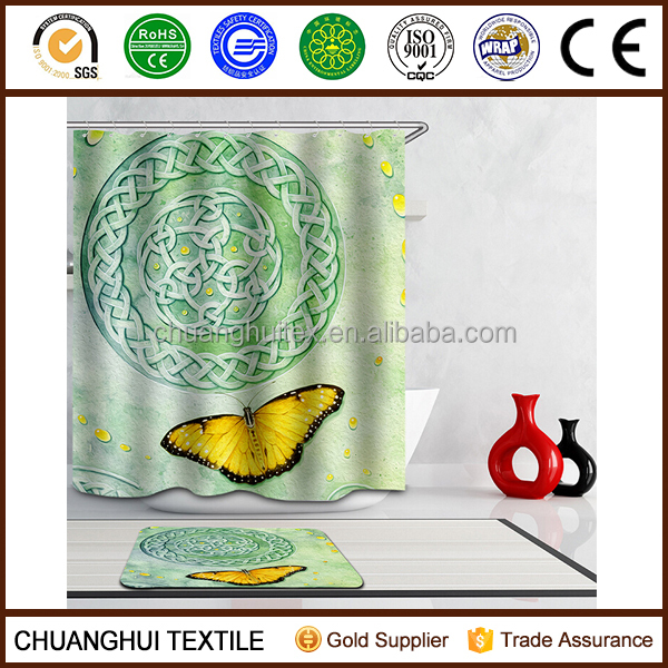 100% polyester pongee printed butterfly shower curtain