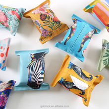 Wholesale custom creative Pattern print tissue box desktop decorative rectangular Cloth tissue box