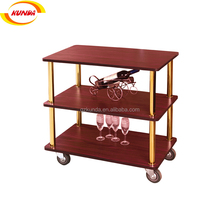 good price restaurant mini bar wooden mobile trolley dining room wine beer tea food service hand cart serving trolley B-130