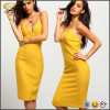 Ecoach wholesale women's sexy yellow Spaghetti Strap Slim dress designer one piece party dress full length party dress