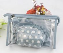 OEM Gift Eco Beauty Transparent Silk-screen printing waterproof clear cosmetic case set