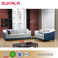 Factory Custom fabric patterned colorful blue and white sofas
