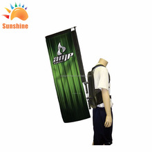 custom advertising backpack banner backpack banner bicycle safety flag For advertising