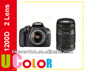 Original Canon EOS 1200D Rebel T5 Digital SLR Camera Body + EF-S 18-55mm + 55-250mm Lens