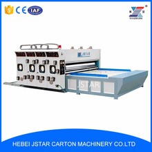 Semi auto chain feeding printing slotting machine with automatic stacker