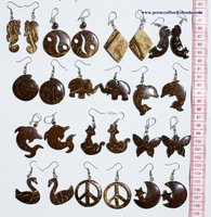 Hand Carved Coconut Earrings Tribal Natural Jewelry