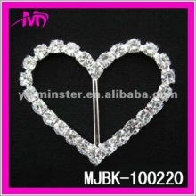 48mm heart shape rhinestone ribbon buckle