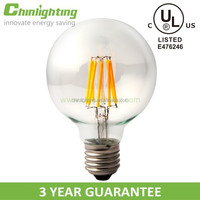 UL and cUL listed clear different CCT high CRI big globe G95 G30 filament led lamp