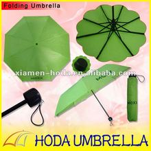green solid fabric three folding compact rain umbrella with logo printing