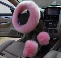 2016 Toyota Car Styling Winter Red Black Pink long Wool Plush Steering Wheel Cover Woolen Car Accessory Steering-wheel