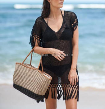 STOCK BLACK V-NECK Tassel Hem Sexy Lady Beach Crochet Cover Ups