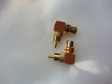 GOLD COPPER RCA MALE TO FEMALE CONNECTOR ,RCA MALE TO RCA FEMALE RIGHT ANGLE ADAPTOR