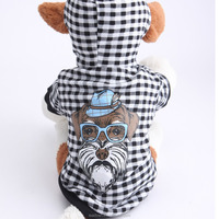 New Fashion Plaid Pattern Dog Printing Leisure Hooded Dog Clothes