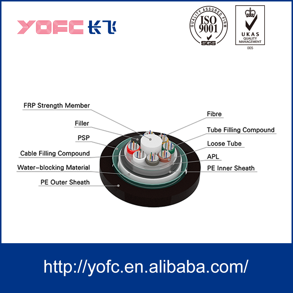 Telecommunication outdoor underground armored multi core tube G652/multimode fiber optic cable GYFTA53