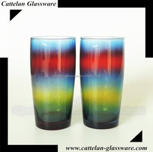 Innovative Rainbow drinking glass tumbler water glass,juice glass beer glass cups,Anhui Bengbu Glassware Factory.