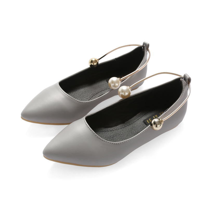 ZH0378L Stylish pearl women shoes plus size flat pointed shoes