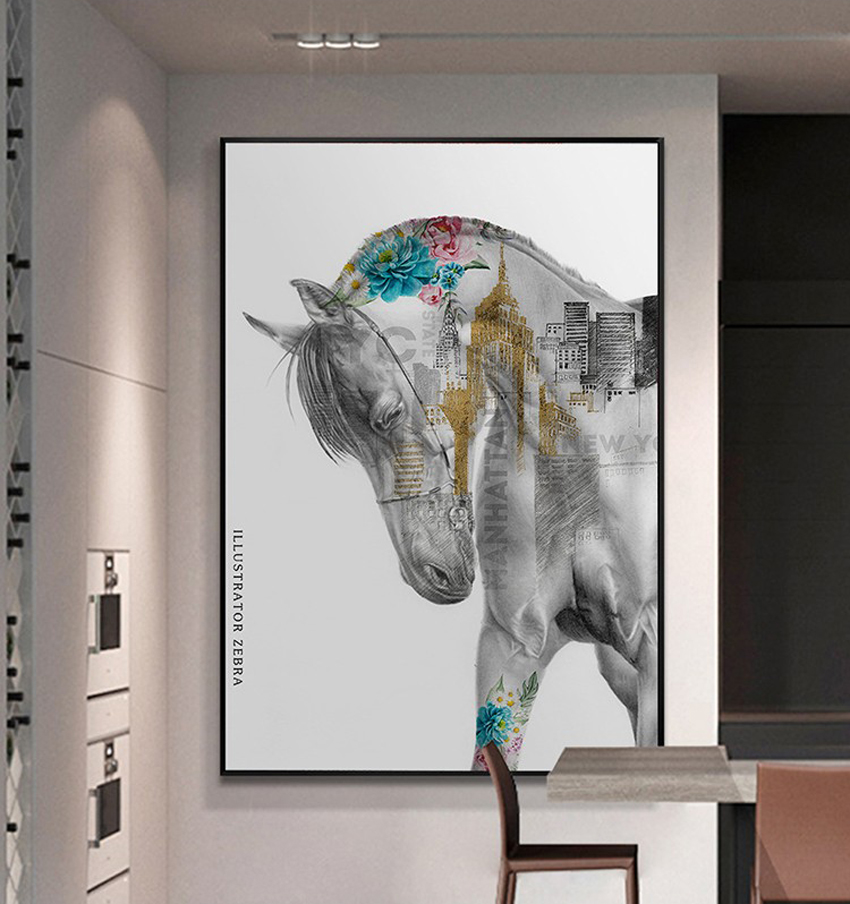 The aesthetic of the Unicorn Frameless paintings canvas modern <strong>art</strong> of four pieces canvas prints painting canvas panels wall deca