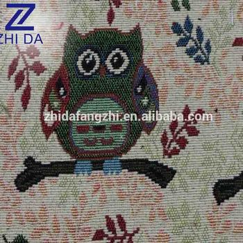 2017 Owl pattern yarn dyed sofa fabric jacquard sofa cover material for sofa set