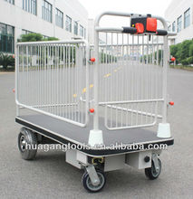 Electric Flatbed Trolley With Wire Fence For Materials Positioning