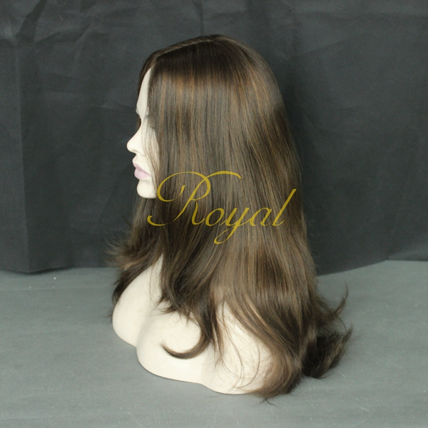 "Kosher of Royal Wigs Ready To Wear Processed Human Hair 22"" Brown Silk Top Jewish Wigs"