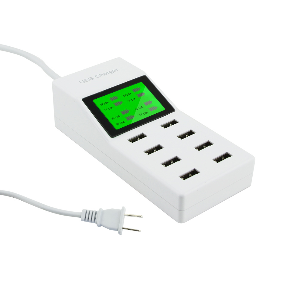 8 USB Ports Led Display US EU UK Plug LCD Display Wall Charger adapter