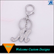 High quality silver tone white rhinestone m letter key chain for promotion
