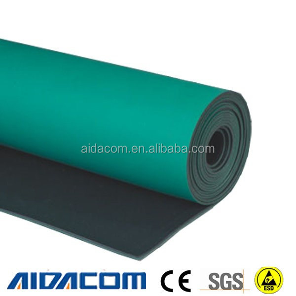 Dull or shiny 2 layers ESD mat, antistatic blue ESD bench mat