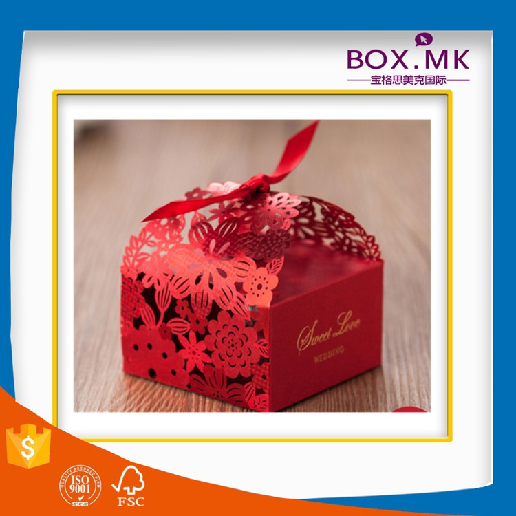 Customized Unique Promotional High Quality Luxury Red Ribbon Laser Cut Wedding Favor Box