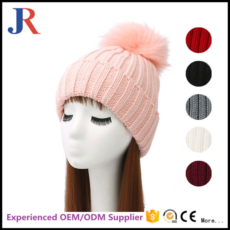 china factory wholesale OEM Winter warm Fur Knit Beanie knitted Ski Cap Bobble Hat