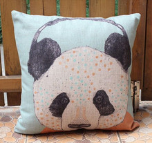 Panda animal Organic cotton home sofa car seat decorative neck pillow case vs cushion cover