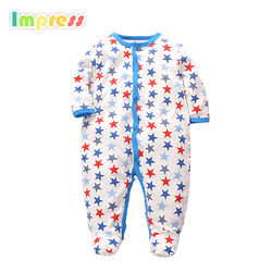 wholesale baby romper clothes 100% cotton animal printed footed baby romper