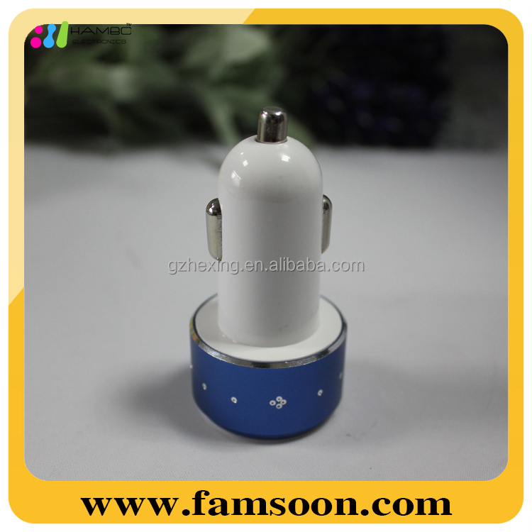 High Quality Diamond Blue Led Display 5V 2.1A 3.1A Dual USB Port car charger for mobile Iphone5/5s/Ipad/Samsung Note3