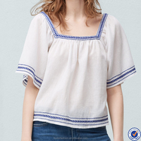 wholesale new fashion squared neckline embroidered cotton blouse with flared hem