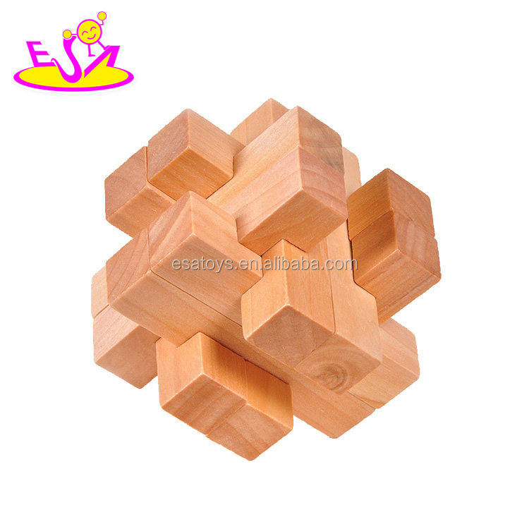 New hottest 3d blocks wooden mini puzzle for kids brain teaser W11C040