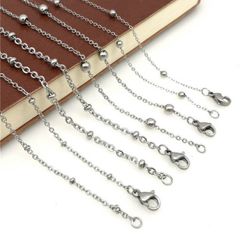 Stainless Steel Ball Station Chain Satellite Beaded Ball Necklaces Chain Necklace with Small Round Balls Beads Rose Gold Black