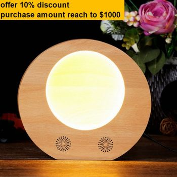 TOP design wood LED table lamp for bedroom decorate with bluetooth speaker