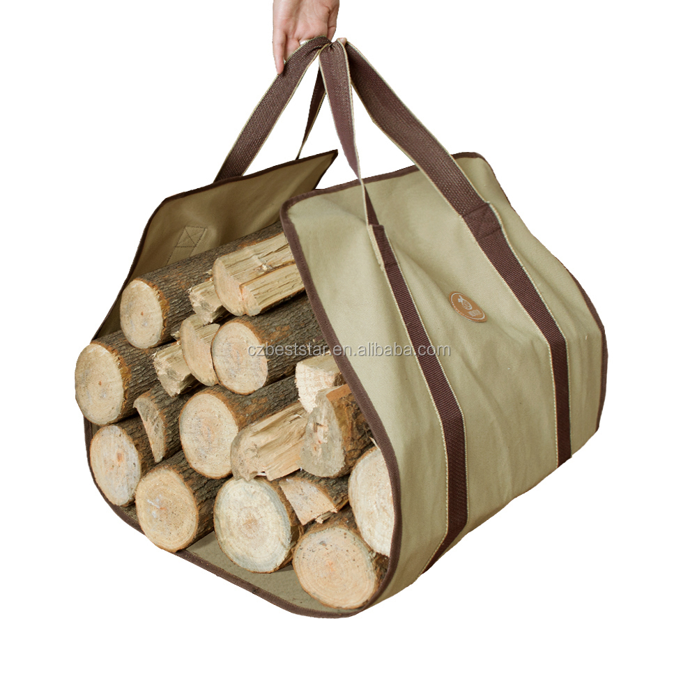 Durable Canvas Firewood Carrier Log Tote carier with handle