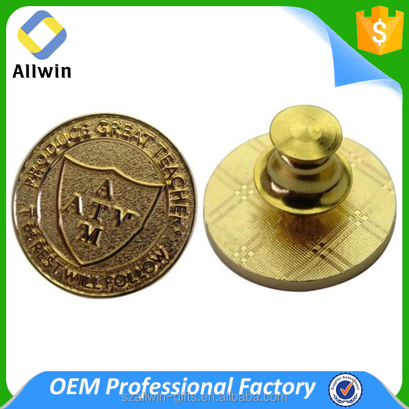Engraved Design Metal Gold Plating Pocket Badge