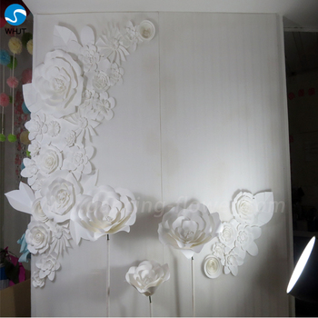 For Christmas Or Wedding Decoration White Artificial Paper Flowers Wall
